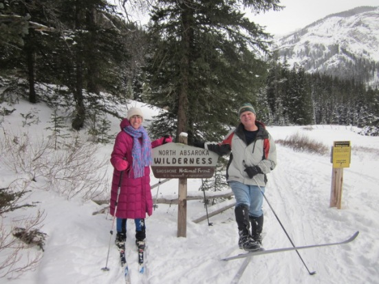 Sue and her husband skiing in the Shoshone National Forest